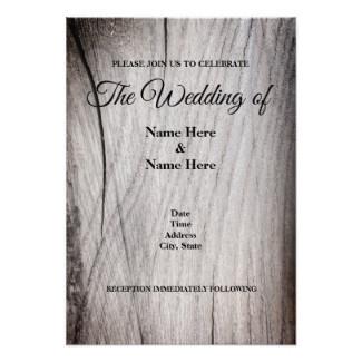 Rustic Wood Grain Design Wedding Invitation Card