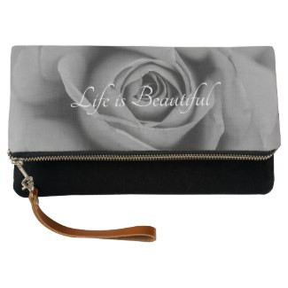Life is Beautiful Rose Black Fold-Over Clutch