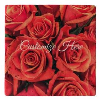 Personalized Roses Stone Trivet