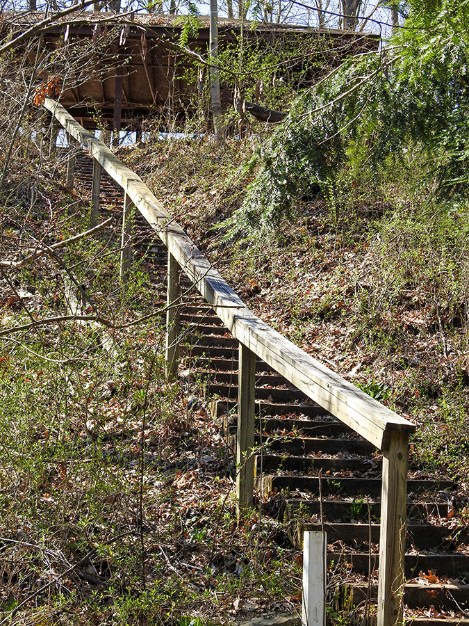Steps leading to upper shelter house at Spring Valley Nature Preserve located in Granville Ohio