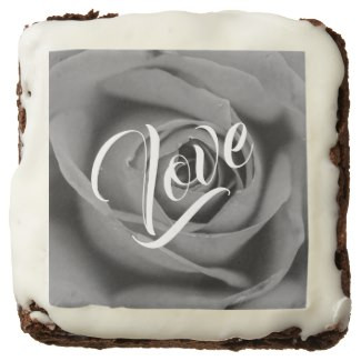 Monochromatic Love Rose Square Brownies