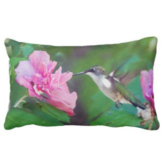 Ruby Throated Hummingbird Lumbar Pillow