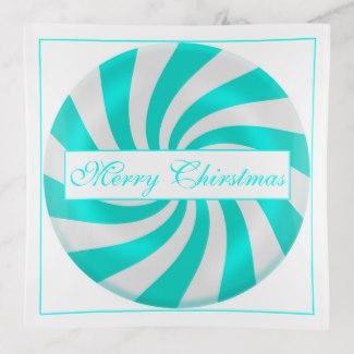 Merry Christmas Hard Candy Design Glass Trinket Tray