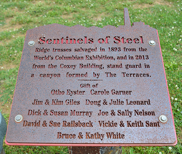 Sentinels of Steel sign at Ariel-Foundation Park in Mount Vernon Ohio