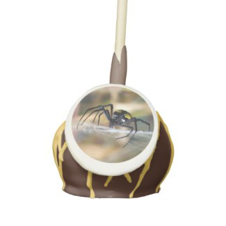 Black and Yellow Argiope Garden Halloween Spider Cake Pops with Icing & Drizzle