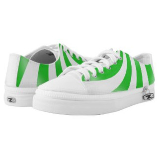 Green and White Low Top Sneakers