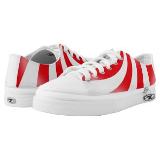 Red and White Low Top Sneakers