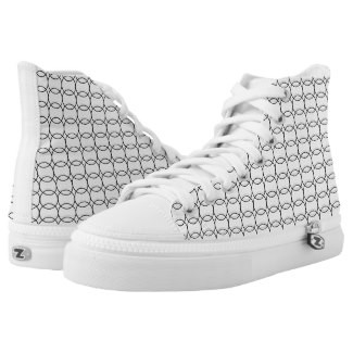 Circle Patterned Design High Top Tennis Shoes