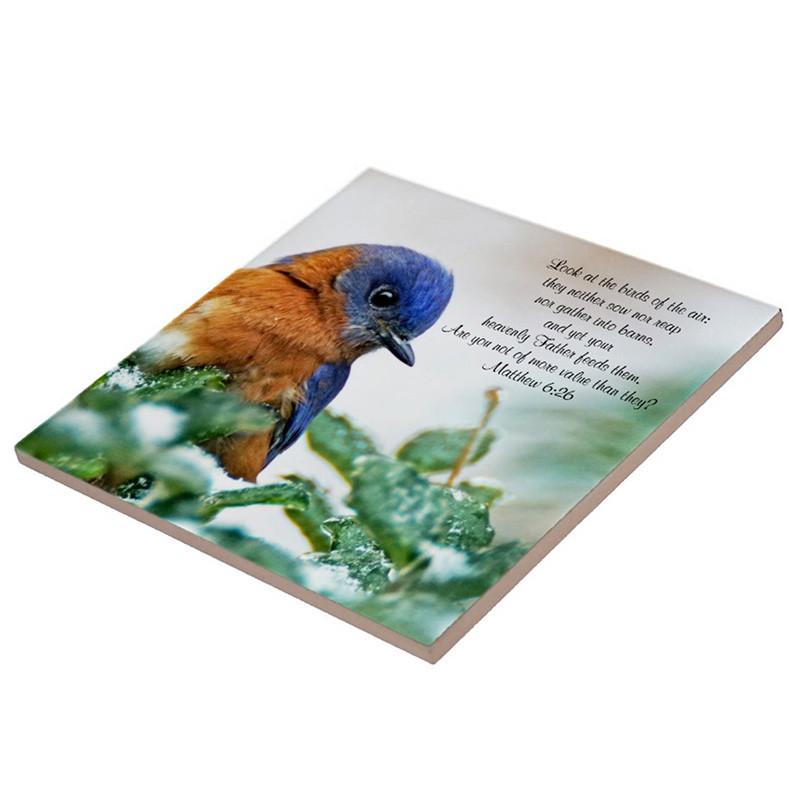 Eastern Blue Bird Ceramic Tile Matthew 6:26