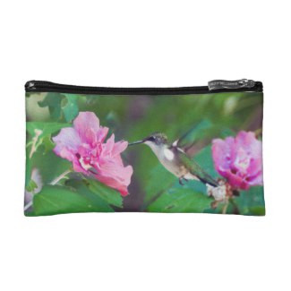 Ruby Throated Hummingbird Cosmetic Bag