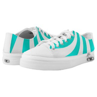 Teal and White Low Top Sneakers