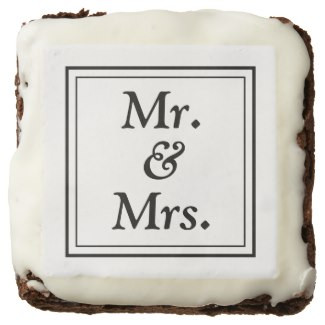 Monochromatic Mr & Mrs Square Brownies