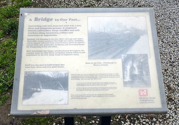 The O'Neall bridge sign at Caesar Creek Gorge in Waynesville Ohio