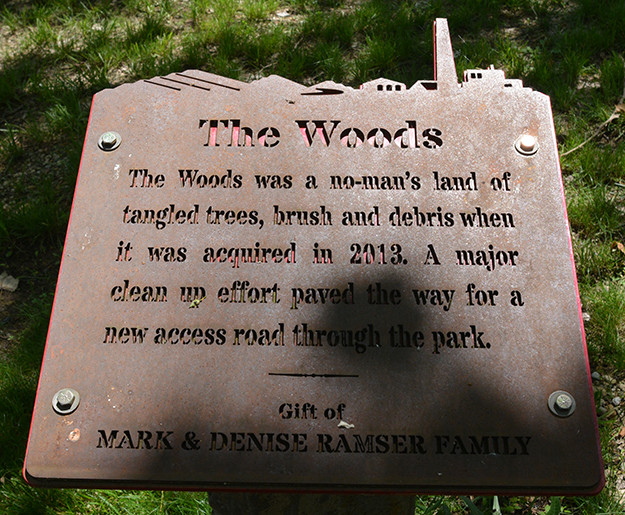 The Woods Sign at Ariel-Foundation Park in Mount Vernon Ohio