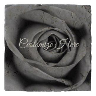 Personalized Monochromatic Rose Stone Trivet