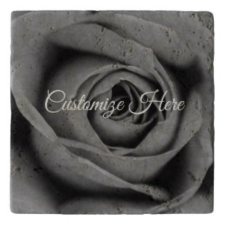 Personalized Monochromatic Rose Stone Trivet