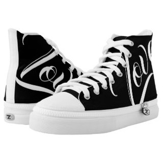Black and White Love High Top Tennis Shoes