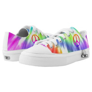 Tie Dye Peace Sign Design Low Top Sneakers