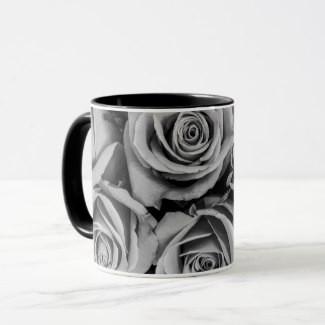 Monochromatic Roses Coffee Mugs