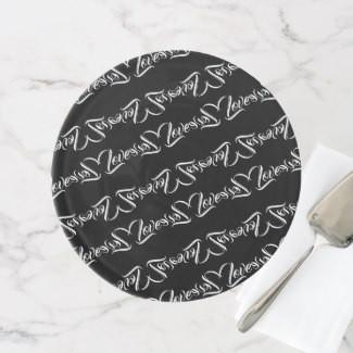 Black & White Love Patterned Design Cake Stand