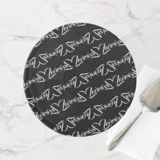 Black & White Love Patterned Design Cake Stand