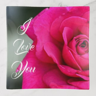 I Love You Red Rose Glass Trinket Tray