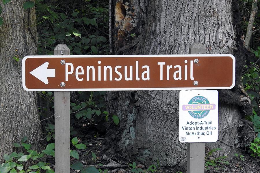 Peninsula Trail Sign Hiking Trail at Lake Hope State Park McArthur Ohio