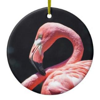 Pink Flamingo Ceramic Christmas Ornament