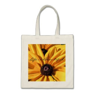 Life is Beautiful Black Eyed Susan Budget Tote Bag
