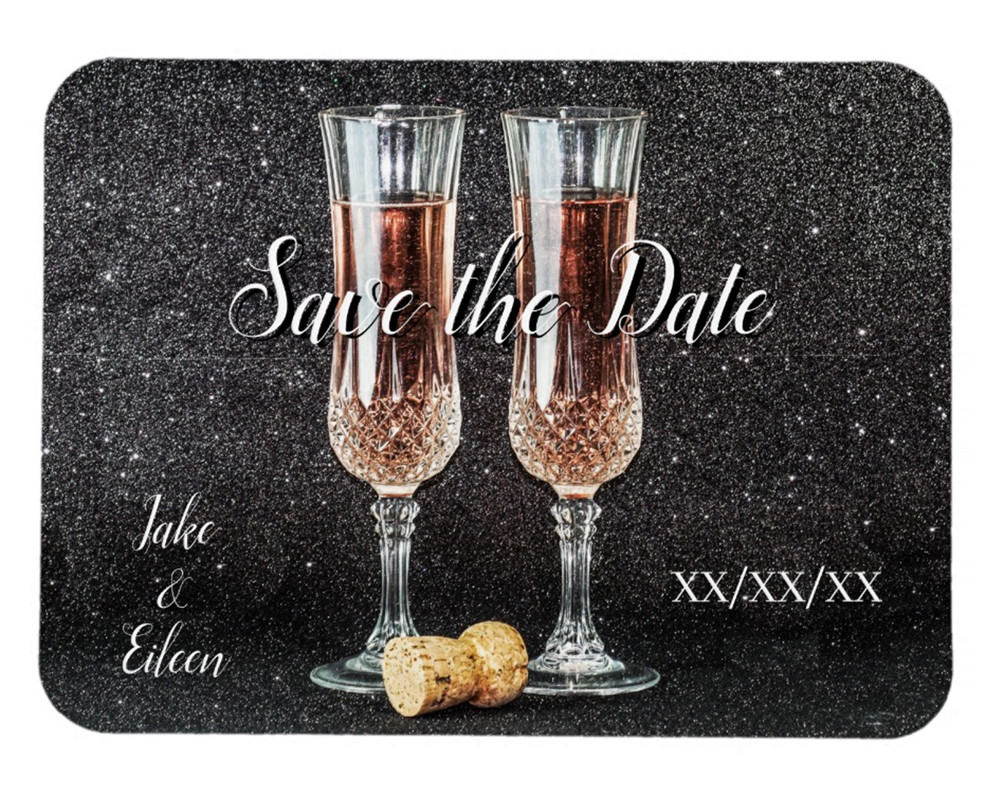 Save the Date Champagne Glasses Wedding Magnet