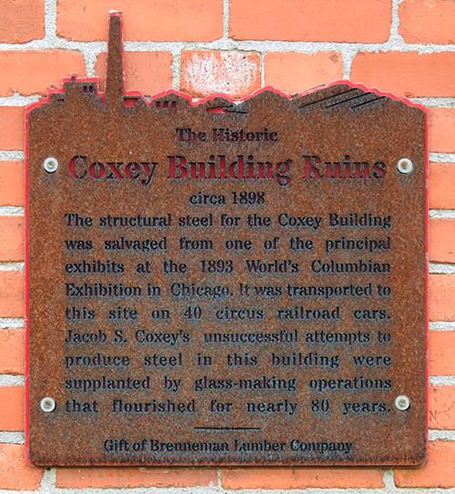 Coxey Building Ruins Sign at Ariel-Foundation Park in Mount Vernon Ohio