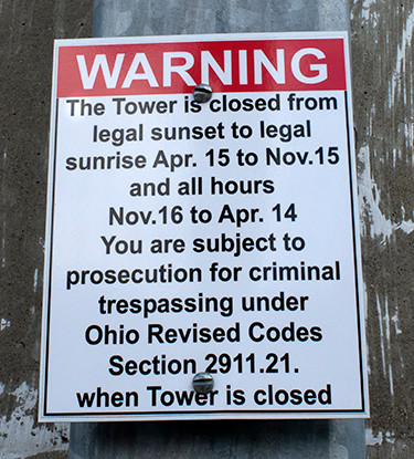 Warning Sign on Rastin Observation Tower at Ariel-Foundation Park in Mount Vernon Ohio