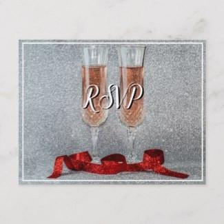 Champagne Glasses Wedding RSVP Postcard