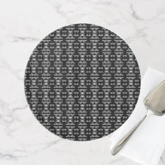 Black & White Mr & Mrs Patterned Design Cake Stand