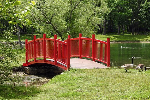 Bridge on Mavis Island at Ariel-Foundation Park in Mount Vernon Ohio