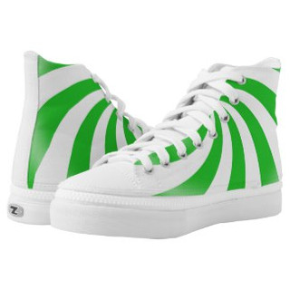 Green Swirl Design High Top Tennis Shoes