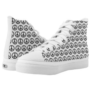 Peace Sign Design High Top Tennis Shoes