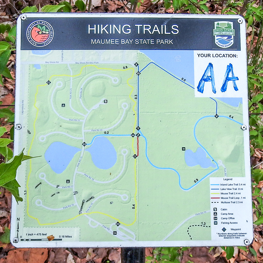 Hiking Trail Map at Maumee Bay State Park Campground in Oregon Ohio