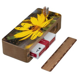 Mining Bee on Yellow Wildflower Cribbage Board