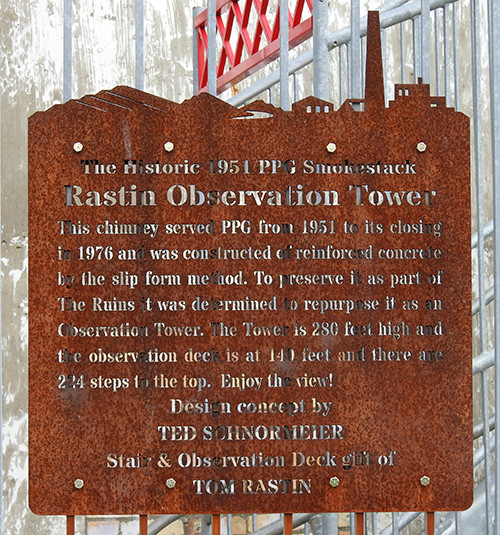 Rastin Observation Tower Sign at Ariel-Foundation Park in Mount Vernon Ohio
