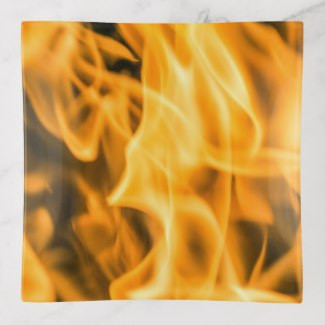 Bonfire Design Glass Trinket Tray