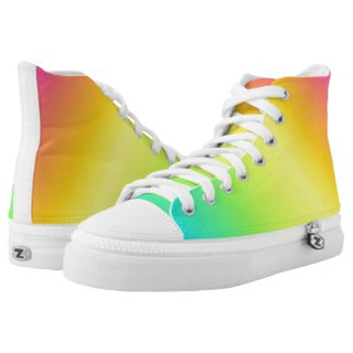 Rainbow Inspired Design High Top Tennis Shoes