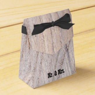 Rustic Wood Grain Design Mr. & Mrs. Favor Box