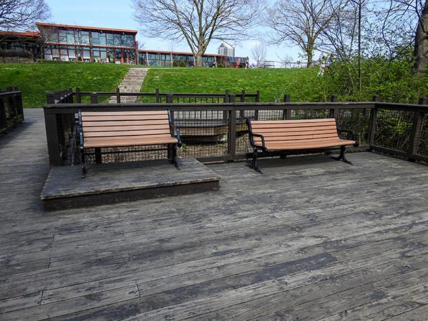 Benches on deck that overlooks Scioto River at Scioto Audubon Metro Park
