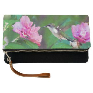 Ruby-Throated Hummingbird Fold-Over Clutch