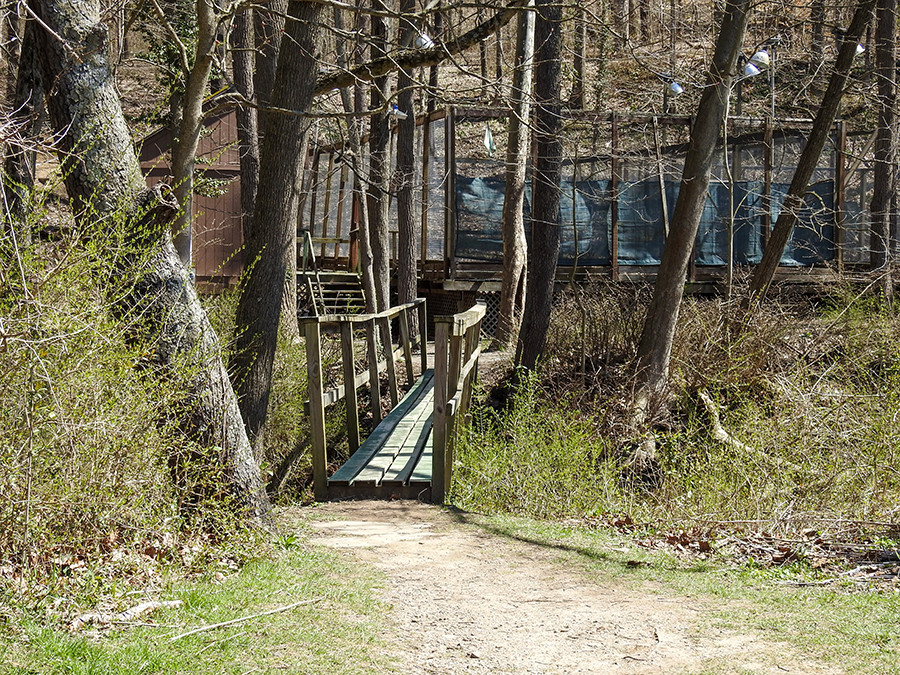 Footbridge at entrance to trail at Spring Valley Nature Preserve in Granville Ohio