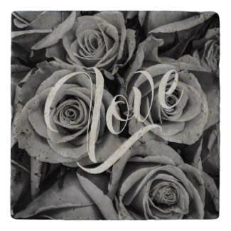 Monochromatic Roses Love Stone Trivet