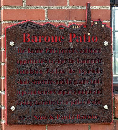 Barone Patio sign at Ariel-Foundation Park in Mount Vernon Ohio