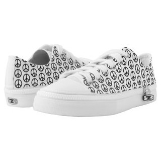 Black and White Peace Sign Design Low Top Sneakers