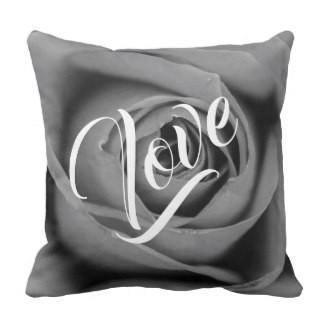 Love Monochromatic Rose Throw Pillow